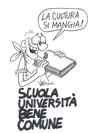 """La cultura si mangia!"" (vignetta di Vauro tratta da ""MetropoLiS"")"